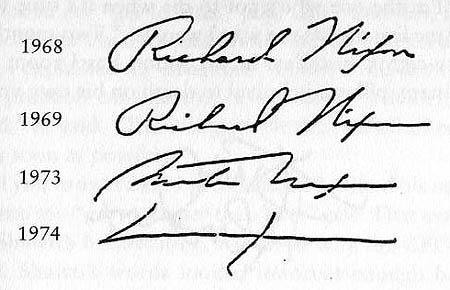 Richard Nixon's Signature Progression