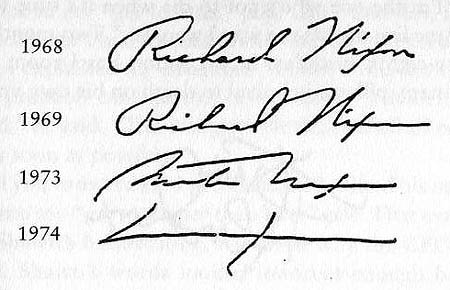 Richard Nixon's Signature Progression