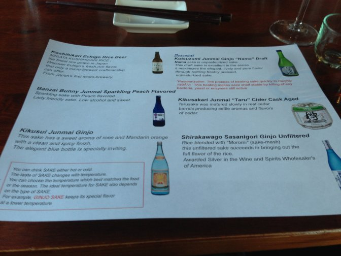 Sake Tasting Menu (Mar 2013)