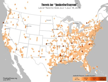 #JusticeForTrayvon Map