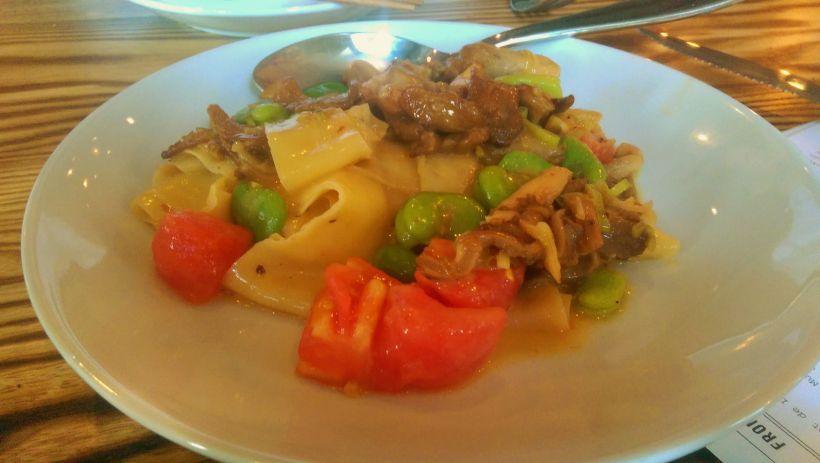 Hand Cut Pappardelle, Fava, Green Garlic, Tomato, Oyster Mushroom [Lusca | Atlanta]
